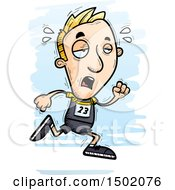 Clipart Of A Tired Running White Male Track And Field Athlete Royalty Free Vector Illustration