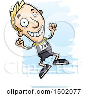 Clipart Of A Jumping White Male Track And Field Athlete Royalty Free Vector Illustration