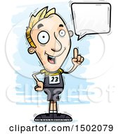 Clipart Of A Talking White Male Track And Field Athlete Royalty Free Vector Illustration