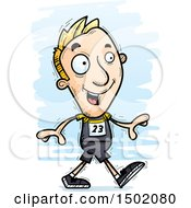 Clipart Of A Walking White Male Track And Field Athlete Royalty Free Vector Illustration