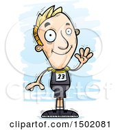 Clipart Of A Waving White Male Track And Field Athlete Royalty Free Vector Illustration