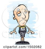Clipart Of A Sad White Senior Male Track And Field Athlete Royalty Free Vector Illustration