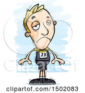 Clipart Of A Sad White Male Track And Field Athlete Royalty Free Vector Illustration