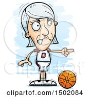 Clipart Of A Mad Pointing White Senior Female Basketball Player Royalty Free Vector Illustration