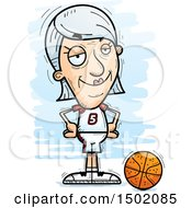 Clipart Of A Confident White Senior Female Basketball Player Royalty Free Vector Illustration