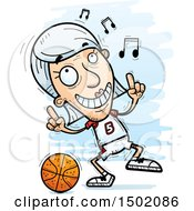 Clipart Of A White Senior Female Basketball Player Doing A Happy Dance Royalty Free Vector Illustration
