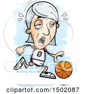 Clipart Of A Tired Running White Senior Female Basketball Player Royalty Free Vector Illustration