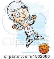 Clipart Of A Jumping White Senior Female Basketball Player Royalty Free Vector Illustration