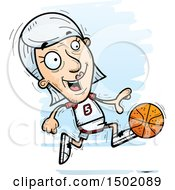 Clipart Of A Running White Senior Female Basketball Player Royalty Free Vector Illustration