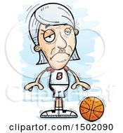 Clipart Of A Sad White Senior Female Basketball Player Royalty Free Vector Illustration