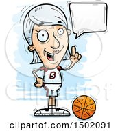 Clipart Of A Talking White Senior Female Basketball Player Royalty Free Vector Illustration