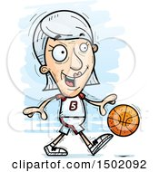 Clipart Of A Dribbling White Senior Female Basketball Player Royalty Free Vector Illustration