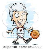 Clipart Of A Dribbling White Senior Female Basketball Player Royalty Free Vector Illustration