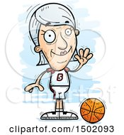 Clipart Of A Waving White Senior Female Basketball Player Royalty Free Vector Illustration