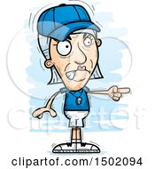 Clipart Of A Mad Pointing White Senior Female Coach Royalty Free Vector Illustration