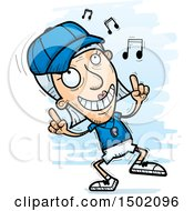 Clipart Of A White Senior Female Coach Doing A Happy Dance Royalty Free Vector Illustration