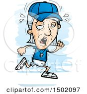 Clipart Of A Tired Running White Senior Female Coach Royalty Free Vector Illustration