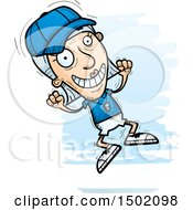 Clipart Of A Jumping White Senior Female Coach Royalty Free Vector Illustration