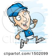 Clipart Of A Running White Senior Female Coach Royalty Free Vector Illustration