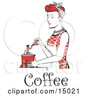 Beautiful Red Haired Housewife Or Maid Woman Using A Manual Coffee Grinder With Text Clipart Illustration