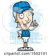 Clipart Of A White Senior Female Coach Holding Up A Finger Royalty Free Vector Illustration