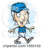 Clipart Of A Walking White Senior Female Coach Royalty Free Vector Illustration