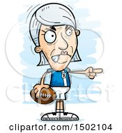 Clipart Of A Mad Pointing White Senior Female Football Player Royalty Free Vector Illustration