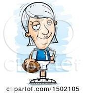 Clipart Of A Confident White Senior Female Football Player Royalty Free Vector Illustration