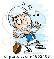 Clipart Of A White Senior Female Football Player Doing A Happy Dance Royalty Free Vector Illustration
