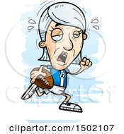Clipart Of A Tired Running White Senior Female Football Player Royalty Free Vector Illustration