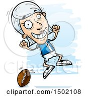 Clipart Of A Jumping White Senior Female Football Player Royalty Free Vector Illustration