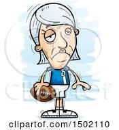 Clipart Of A Sad White Senior Female Football Player Royalty Free Vector Illustration