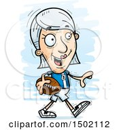 Clipart Of A Walking White Senior Female Football Player Royalty Free Vector Illustration