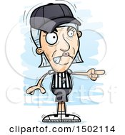Clipart Of A Mad Pointing White Senior Female Referee Royalty Free Vector Illustration