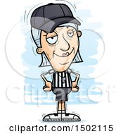 Clipart Of A Confident White Senior Female Referee Royalty Free Vector Illustration