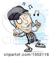 Clipart Of A White Senior Female Referee Doing A Happy Dance Royalty Free Vector Illustration