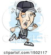 Clipart Of A Tired Running White Senior Female Referee Royalty Free Vector Illustration