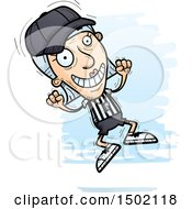 Clipart Of A Jumping White Senior Female Referee Royalty Free Vector Illustration
