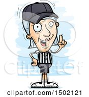 Clipart Of A White Senior Female Referee Holding Up A Finger Royalty Free Vector Illustration