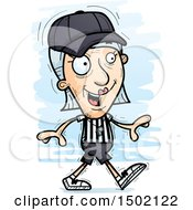 Clipart Of A Walking White Senior Female Referee Royalty Free Vector Illustration