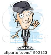 Clipart Of A Waving White Senior Female Referee Royalty Free Vector Illustration