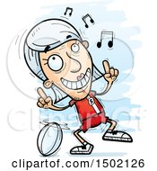 Clipart Of A White Senior Female Rugby Player Doing A Happy Dance Royalty Free Vector Illustration