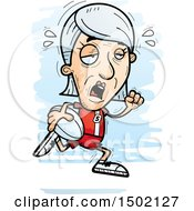 Clipart Of A Tired Running White Senior Female Rugby Player Royalty Free Vector Illustration