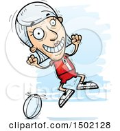 Clipart Of A Jumping White Senior Female Rugby Player Royalty Free Vector Illustration