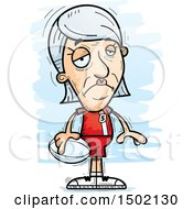 Clipart Of A Sad White Senior Female Rugby Player Royalty Free Vector Illustration