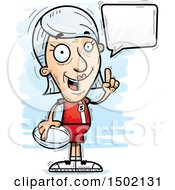 Clipart Of A Talking White Senior Female Rugby Player Royalty Free Vector Illustration