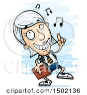 Clipart Of A White Senior Female College Student Doing A Happy Dance Royalty Free Vector Illustration