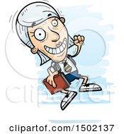 Clipart Of A Jumping White Senior Female College Student Royalty Free Vector Illustration