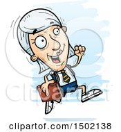 Clipart Of A Running White Senior Female College Student Royalty Free Vector Illustration