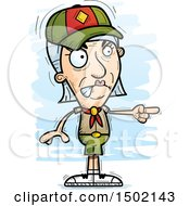 Clipart Of A Mad Pointing White Senior Female Scout Royalty Free Vector Illustration